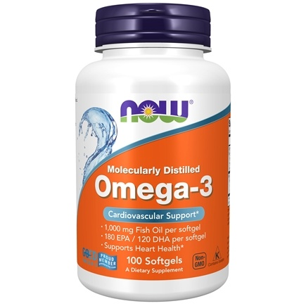 NOW Foods - Omega-3 Molecularly Distilled Fish Oil - 100 Softgels