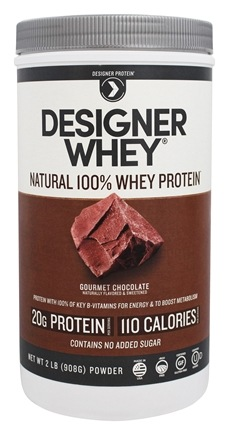 Designer Protein - Designer Whey Natural 100% Whey-Based Protein Powder Gourmet Chocolate - 2 lbs.