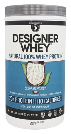 Designer Protein - Designer Whey Natural 100% Whey-Based Protein Powder Purely Unflavored - 2 lbs.