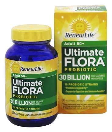 Renew Life - Ultimate Flora Adult 50+ Probiotic 30 Billion - 30 Capsules Formerly Senior Formula