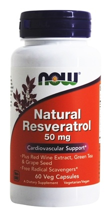 NOW Foods - Natural Resveratrol - 60 Vegetarian Capsules