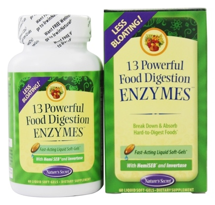 DROPPED: Nature's Secret - 13 Powerful Food Digestion Enzymes - 60 Softgels