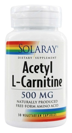 Solaray - Acetyl L-Carnitine 500 mg. - 30 Vegetarian Capsules