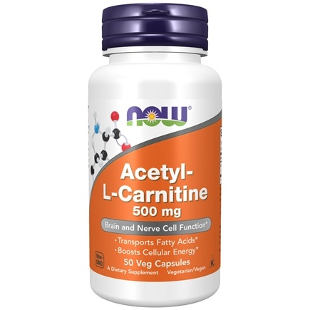 NOW Foods - Acetyl L-Carnitine 500 mg. - 50 Vegetarian Capsules