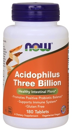 NOW Foods - Acidophilus 3 Billion Stabilized - 180 Tablets