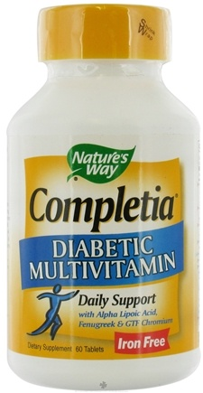 DROPPED: Nature's Way - Completia Diabetic (iron-free) Multi-Vitamin - 60 Tablets CLEARANCE PRICED