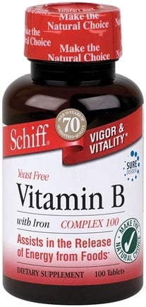 DROPPED: Schiff - Vitamin B Complex with Iron 100 mg. - 100 Tablets