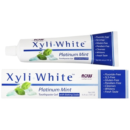 NOW Foods - XyliWhite Toothpaste Gel Fluoride-Free Platinum Mint - 6.4 oz.
