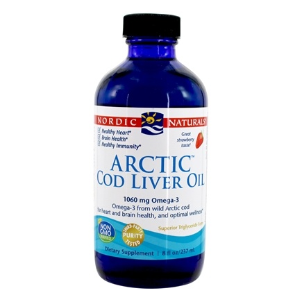 DROPPED: Nordic Naturals - Arctic Cod Liver Oil Strawberry Flavor - 8 oz. CLEARANCE PRICED