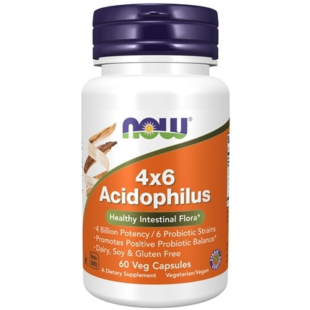 NOW Foods - Acidophilus 4x6 (4 Billion Potency, 6 Probiotic Strains) - 60 Capsules
