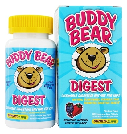 DROPPED: Renew Life - Buddy Bear Digest Digestive Enzyme Supplement for Children Berry - 60 Chewable Tablets