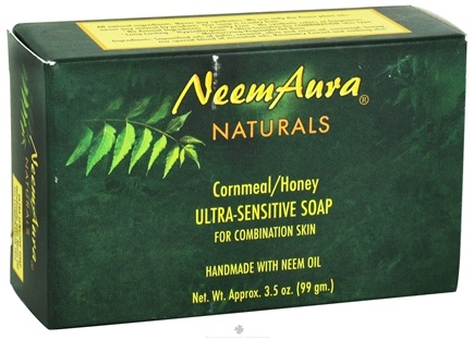 DROPPED: NeemAura Naturals - Bar Soap Ultra-Sensitive For Combination Skin Cornmeal/Honey - 3.5 oz. CLEARANCE PRICED