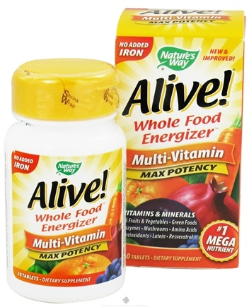 DROPPED: Nature's Way - Alive Multi-Vitamin Whole Food Energizer No Iron Added - 30 Tablets CLEARANCED PRICED