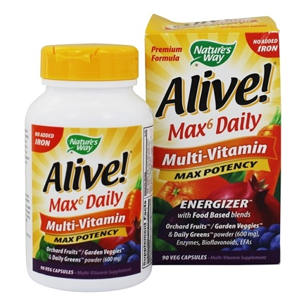 Nature's Way - Alive Multi-Vitamin Whole Food Energizer No Iron Added - 90 Vegetarian Capsules