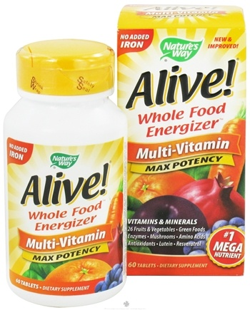 DROPPED: Nature's Way - Alive Multi-Vitamin Whole Food Energizer No Iron Added - 60 Tablets CLEARANCE PRICED