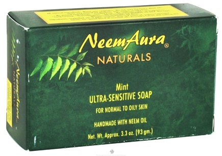 DROPPED: NeemAura Naturals - Bar Soap Ultra-Sensitive For Normal To Oily Skin Mint - 3.3 oz. CLEARANCE PRICED