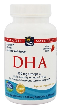 Nordic Naturals - DHA from Purified Fish Oil Strawberry 500 mg. - 90 Softgels