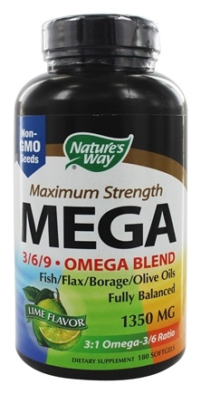 Nature's Way - Mega 3 6 9 Omega EFA Blend Lime 1350 mg. - 180 Softgels