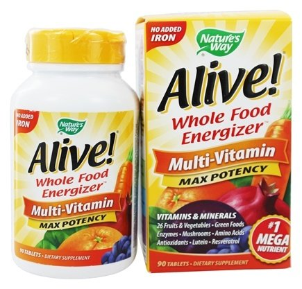 Nature's Way - Alive Multi-Vitamin Whole Food Energizer No Iron Added - 90 Tablets