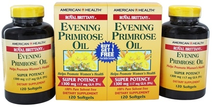 American Health - Royal Brittany Evening Primrose Oil Super Potency (120 + 120) Twin Pack Special 1300 mg. - 240 Softgels