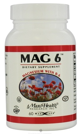 DROPPED: Maxi-Health Research Kosher Vitamins - Mag 6 Magnesium With B-6 - 60 Capsules CLEARANCE PRICED