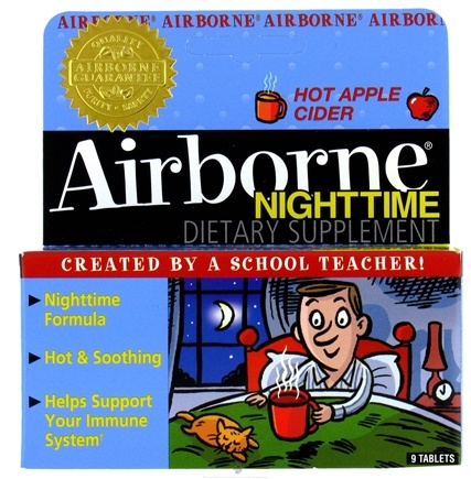 DROPPED: Airborne - Nighttime Apple Cider Flavor - 9 Tablets