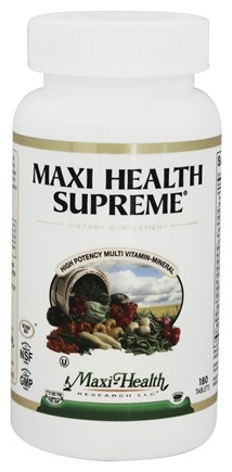 DROPPED: Maxi-Health Research Kosher Vitamins - Maxi Health Supreme High Potency Multi-Vitamin/Mineral - 180 Tablets