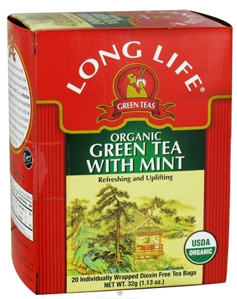 DROPPED: Long Life Teas - Organic Green Tea With Mint - 20 Tea Bags CLEARANCE PRICED