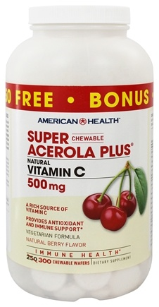American Health - Super Acerola Plus Natural Vitamin C Natural Berry Flavor 500 mg. - 300 Chewable Wafers