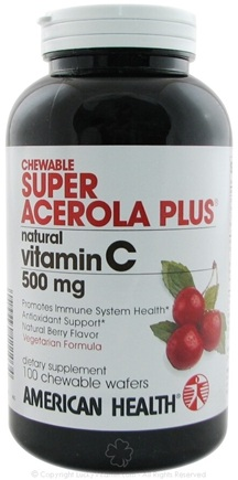 DROPPED: American Health - Super Acerola Plus 500 Mg. - 100 Wafers