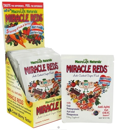 DROPPED: MacroLife Naturals - Miracle Reds Antioxidant Super Food - 12 Packet(s) formerly Miracle Greens CLEARANCE PRICED