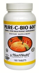 DROPPED: Maxi-Health Research Kosher Vitamins - Vitamin C Pure C Bio 600 mg. - 180 Capsules
