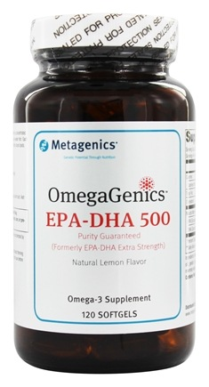 Metagenics - OmegaGenics EPA-DHA 500 Natural Lemon Flavor - 120 Softgels (formerly EPA-DHA Extra Strength)