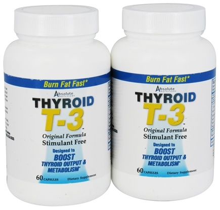 Absolute Nutrition - Thyroid T-3 Original Formula Stimulant-Free (60+60) Twin Pack Special - 120 Capsules