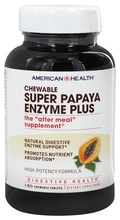 American Health - Super Papaya Enzyme Plus Chewable High Potency - 180 Tablets