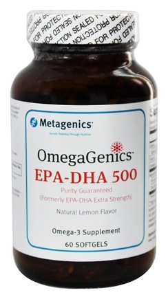 Metagenics - OmegaGenics EPA-DHA 500 Natural Lemon Flavor - 60 Softgels formerly EPA-DHA Extra Strength