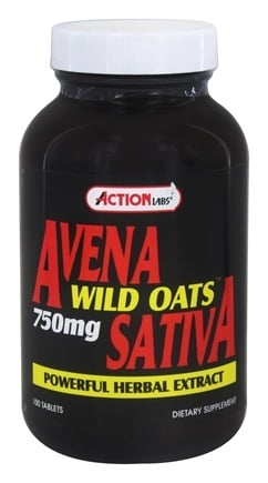 Action Labs - Avena Sativa Wild Oats 750 mg. - 100 Capsules with Oat Straw Extract