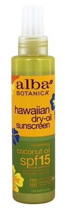 Alba Botanica - Alba Hawaiian Coconut Dry Oil Natural Sunscreen 15 SPF - 4.5 oz.