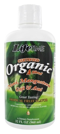 LifeTime Vitamins - Certified Organic 4-Blend Noni Mangosteen Goji & Acai - 32 oz.