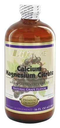 LifeTime Vitamins - Liquid Calcium Magnesium Citrate with Vitamin D3 Natural Grape Flavor 600 mg. - 16 oz.