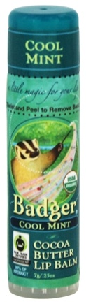 Badger - Certified Organic Cocoa Butter Lip Balm Stick Cool Mint - 0.25 oz.