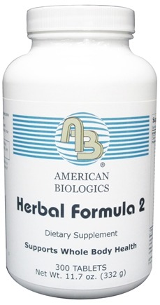 DROPPED: American Biologics - Herbal Formula 2 - 300 Tablets CLEARANCE PRICED