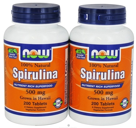 DROPPED: NOW Foods - Spirulina 100% Natural (200+200) Twin Pack Special 500 mg. - 400 Tablets