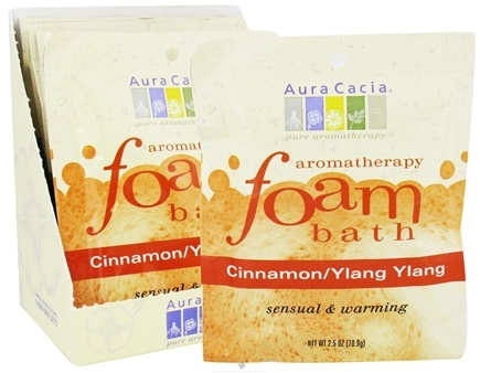 DROPPED: Aura Cacia - Aromatherapy Foam Bath Cinnamon & Ylang Ylang - 2.5 oz. CLEARANCE PRICED