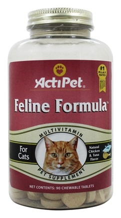 ActiPet - Feline Formula Daily Multi Vitamin & Mineral For Cats - 90 Chewable Tablets