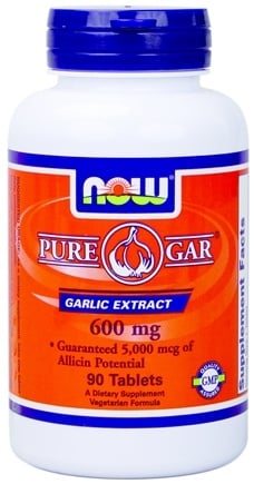 DROPPED: NOW Foods - Pure-Gar Garlic Enteric Coated, Vegetarian 600 mg. - 90 Tablets
