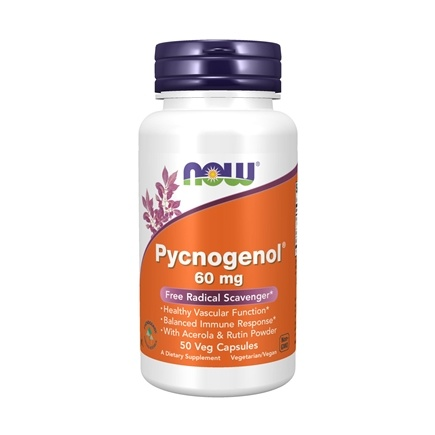 NOW Foods - Pycnogenol Free Radical Scavenger with Acerola & Rutin 60 mg. - 50 Vegetarian Capsules