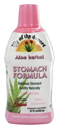 Lily Of The Desert - Organic Aloe Vera Gel Herbal Stomach Formula Mint - 32 oz.