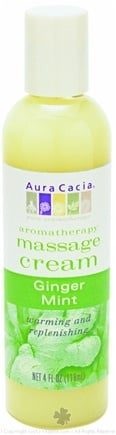 DROPPED: Aura Cacia - Aromatherapy Massage Cream Ginger & Mint - 4 oz. CLEARANCE PRICED