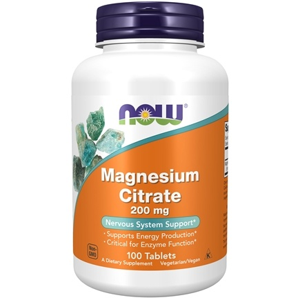 NOW Foods - Magnesium Citrate 200 mg. - 100 Tablets